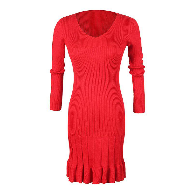 Latest Women's V-Neck Long-Sleeved Pleated Bottoming High-Elastic Knit Dress