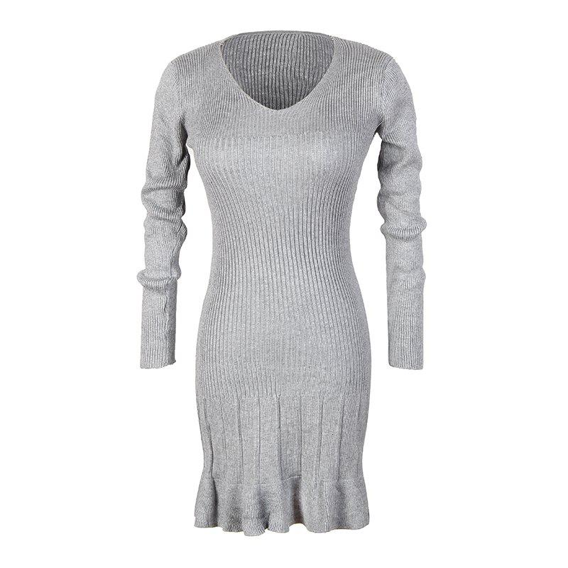 Fancy Women's V-Neck Long-Sleeved Pleated Bottoming High-Elastic Knit Dress