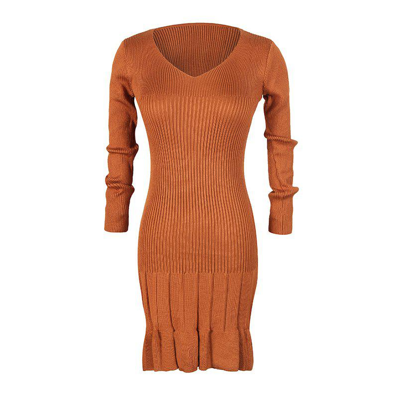 Store Women's V-Neck Long-Sleeved Pleated Bottoming High-Elastic Knit Dress
