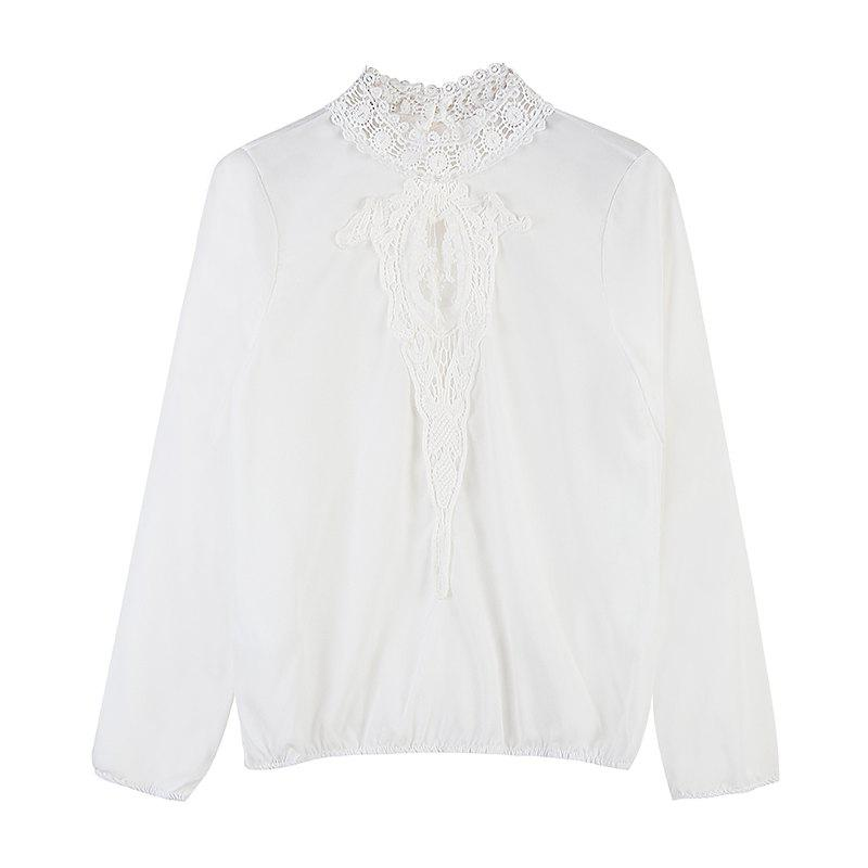 Fancy Women's New Lace Stitching Temperament Long-Sleeved Chiffon Shirt