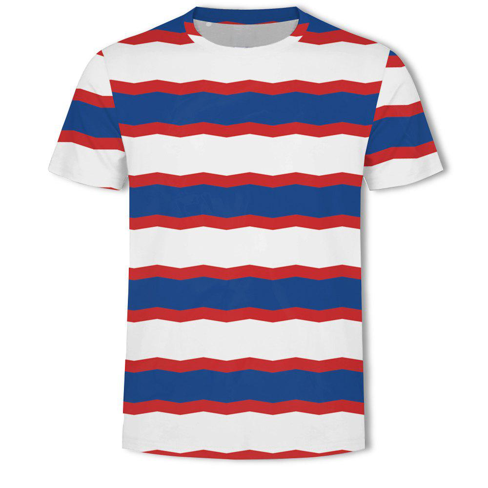 Trendy Men's British Style 3D Printed Short-sleeved T-shirt