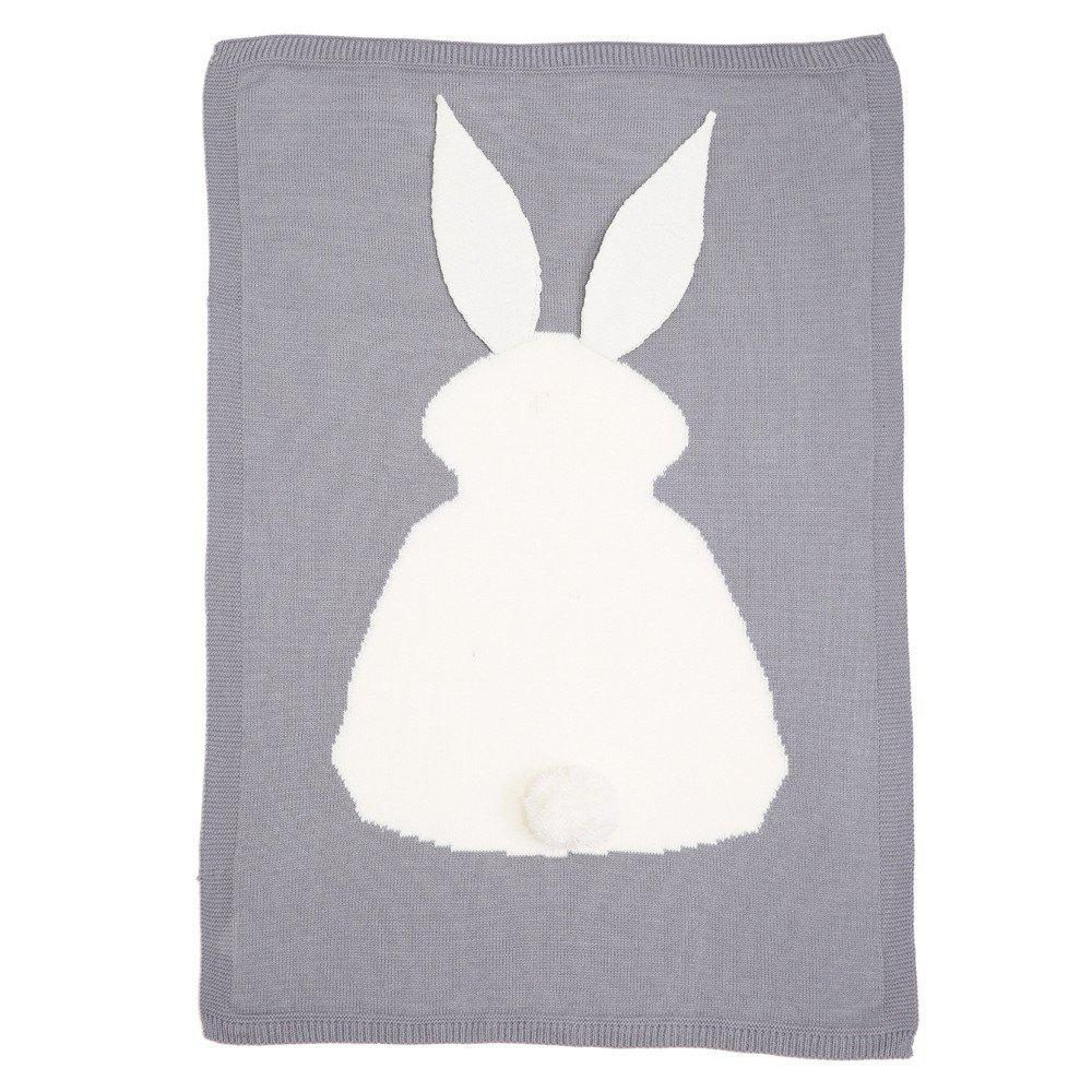 Trendy Baby Girl and Boy Knit Blanket and Rabbit Wool Quilt