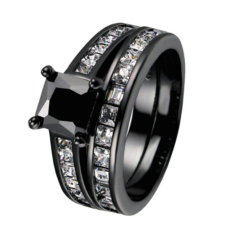 Chic Fashion Black Gold Filled Square Black Zircon Woman Ring