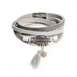 Ladies' Fashion Ethnic Style Multi-Layered Leather Magnet Clasp Bracelet -
