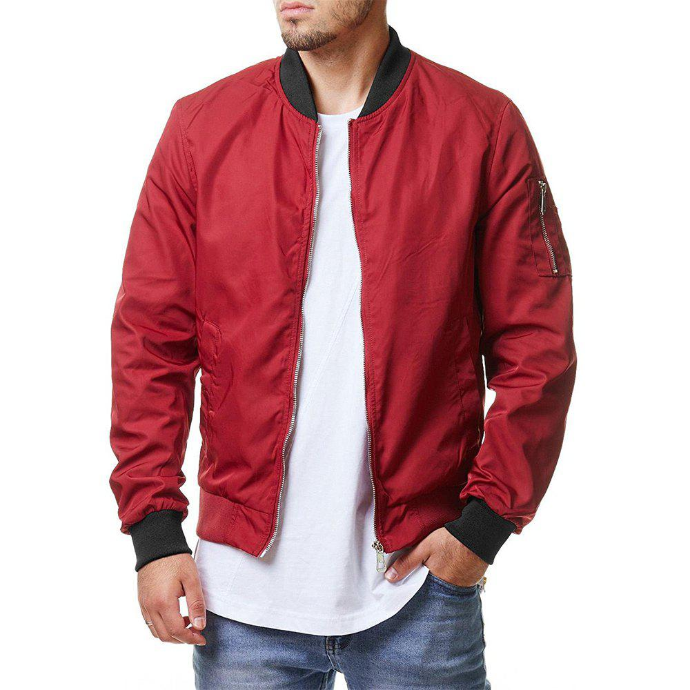 New Men's Fashion Solid Color Simple Personality Pocket Design Outdoor Casual Jacket