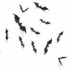 12Pcs Black 3D PVC Bat Wall Sticker Decal Halloween Festival Decoration -