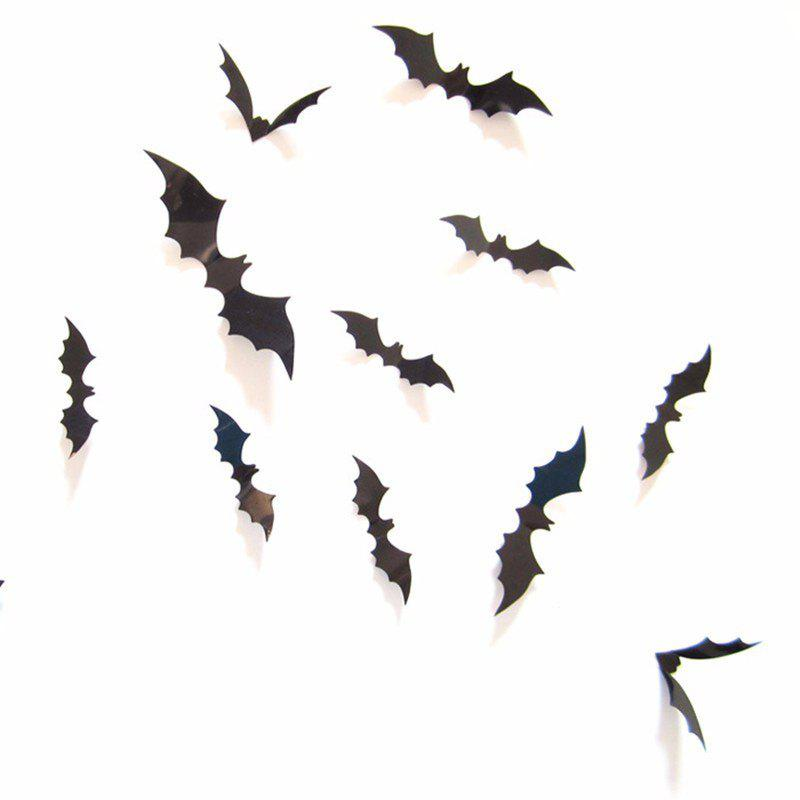 Outfits 12Pcs Black 3D PVC Bat Wall Sticker Decal Halloween Festival Decoration