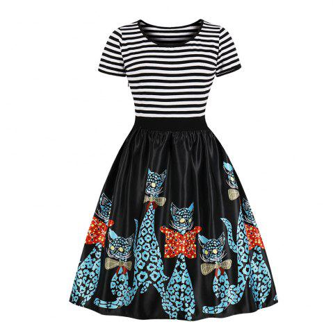 Round Collar Stripe Joining Together Printing Dress