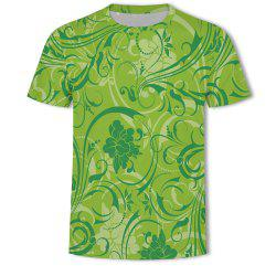 Fashion Casual Flowers Loose 3D Printed Short T-shirt -