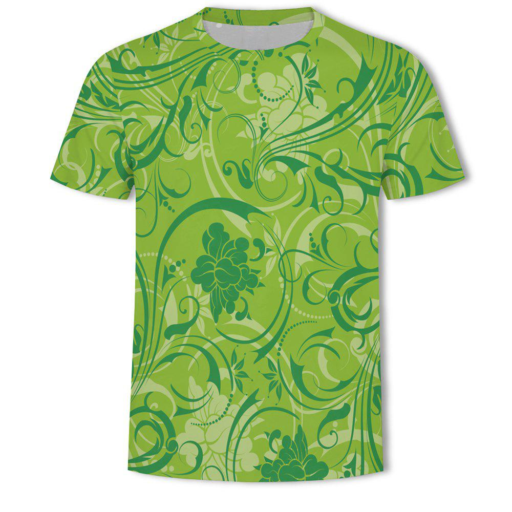 Latest Fashion Casual Flowers Loose 3D Printed Short T-shirt