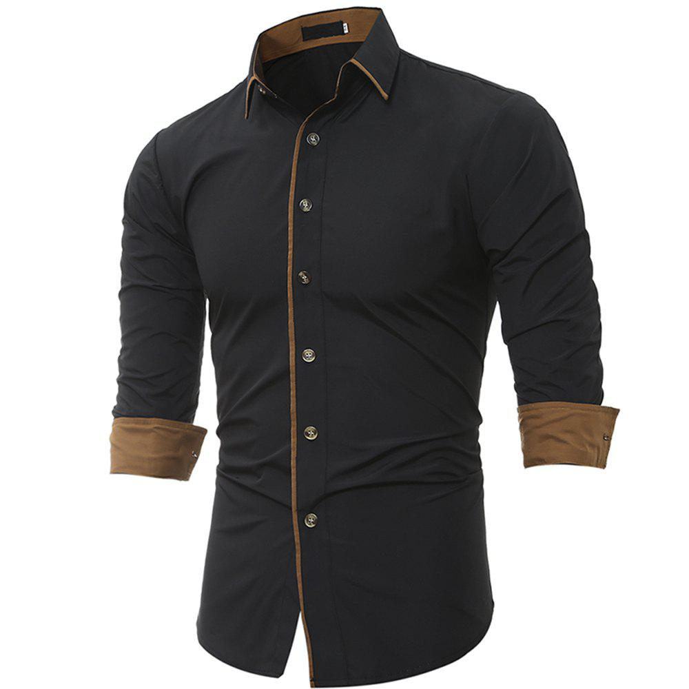 Online Personalized Striped Men'S Casual Slim Long-Sleeved Shirt