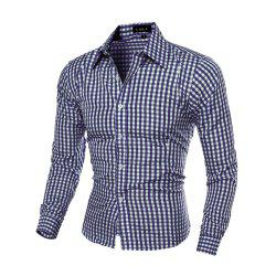 Fashion 6-COLOR Plaid Men'S Slim Long-Sleeved Plaid Shirt -