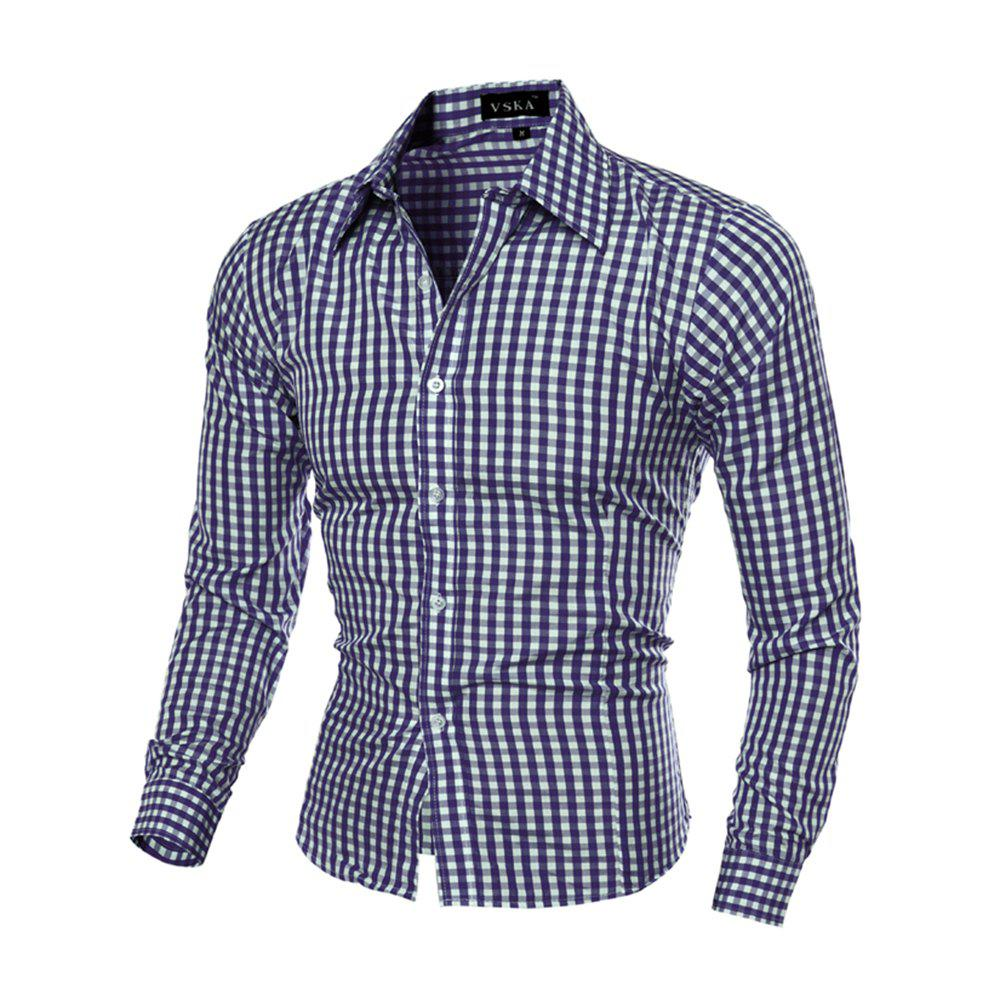 New Fashion 6-COLOR Plaid Men'S Slim Long-Sleeved Plaid Shirt