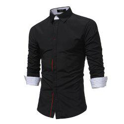 Men'S Contrast Dark Buckle Slim Shirt Business High Quality Fashion Long Sleeve -