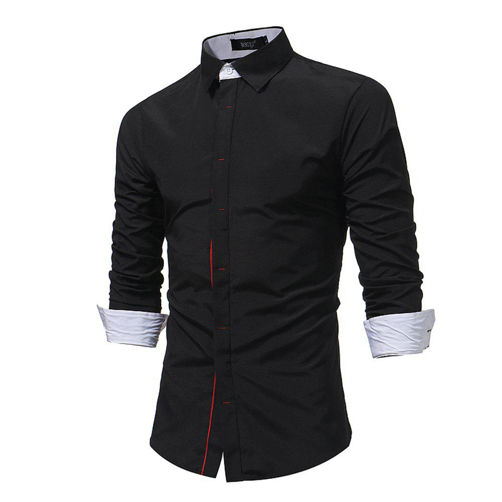 Outfit Men'S Contrast Dark Buckle Slim Shirt Business High Quality Fashion Long Sleeve