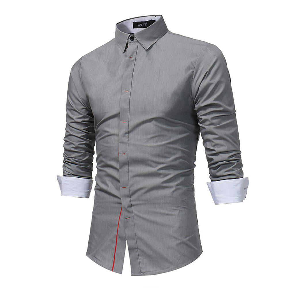Unique Men'S Contrast Dark Buckle Slim Shirt Business High Quality Fashion Long Sleeve