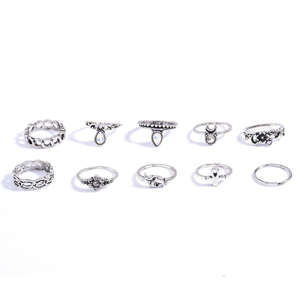 Shop Fashion 10PC/SET Women Punk Vintage Knuckle Joint Rings