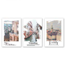 3PCS W484 European and American Wind Building Pattern Decoration Spray Painting -