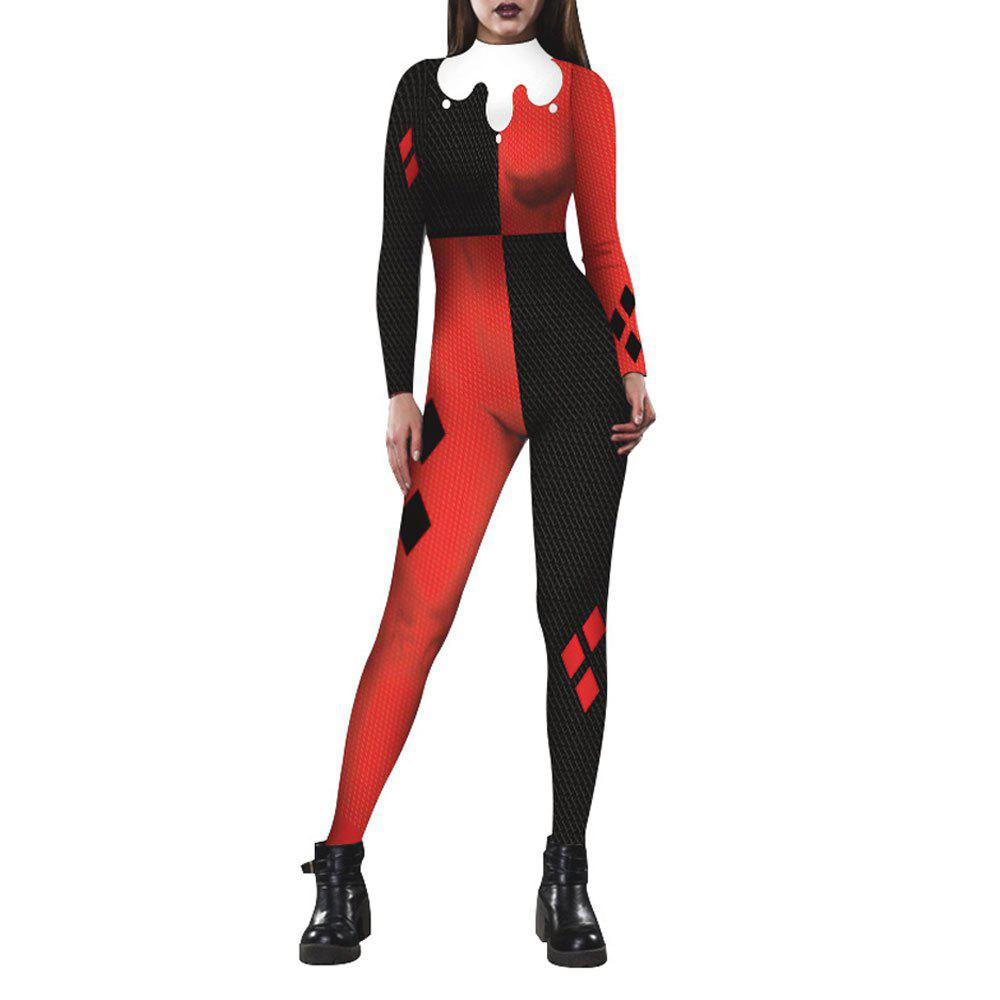 Женская печать Zip Long-Sleeve Halloween Fashion Jumpsuit