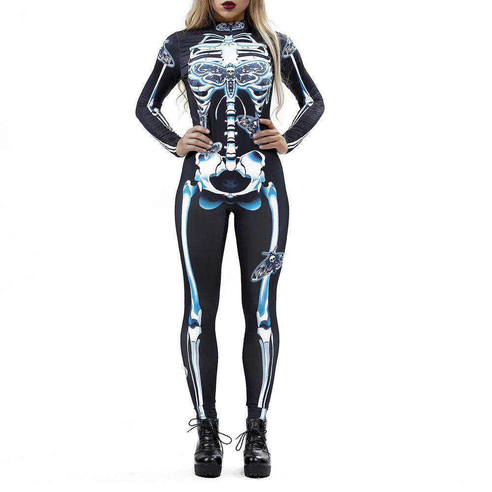 Affordable Women's  Print Zip Long-Sleeve Halloween Fashion Jumpsuit