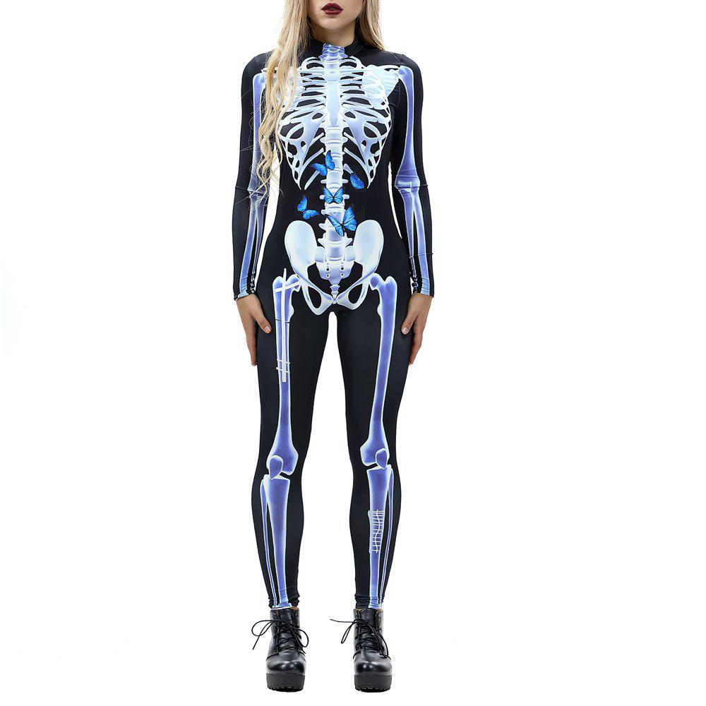 Discount Women's  Print Zip Long-Sleeve Halloween Fashion Jumpsuit