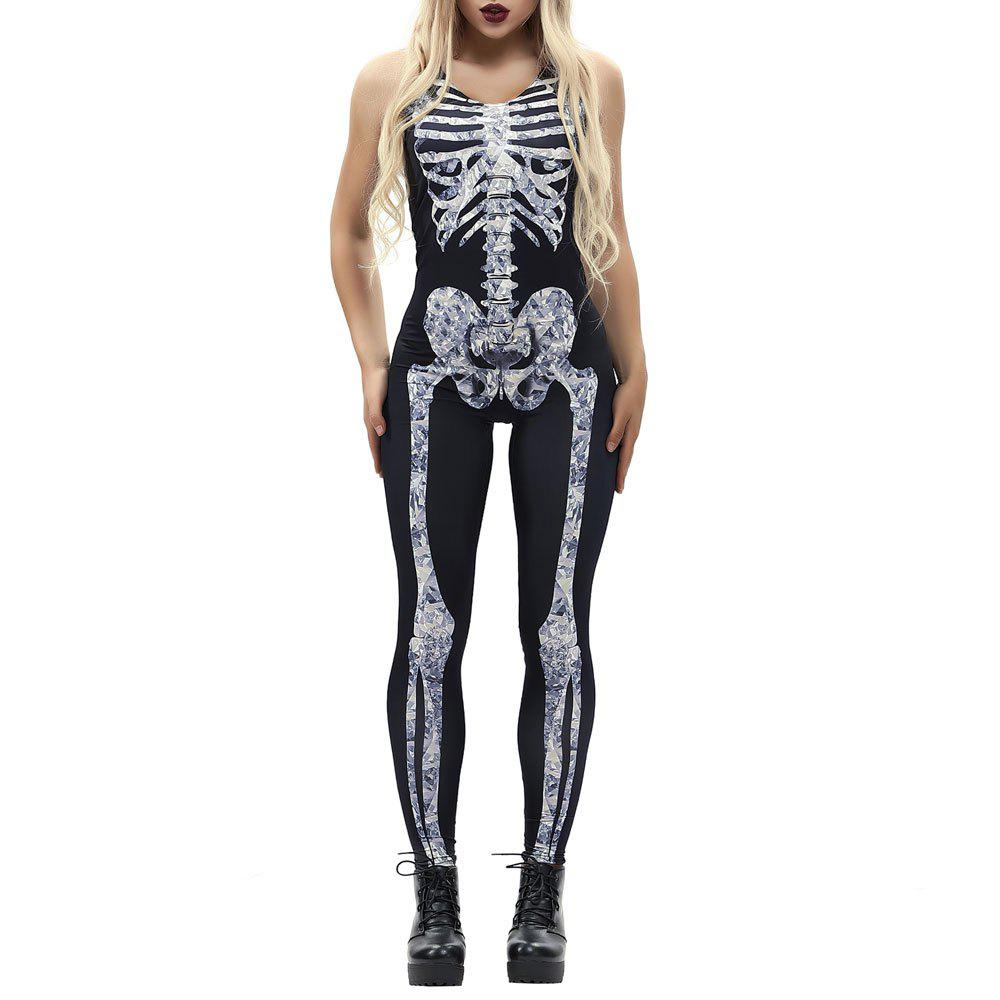 Chic Women's  Printed Zipper Halloween Fashion Vest Style Jumpsuit