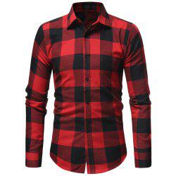 Classic Flannel Plaid Men's Casual Slim Long Sleeve Shirt -
