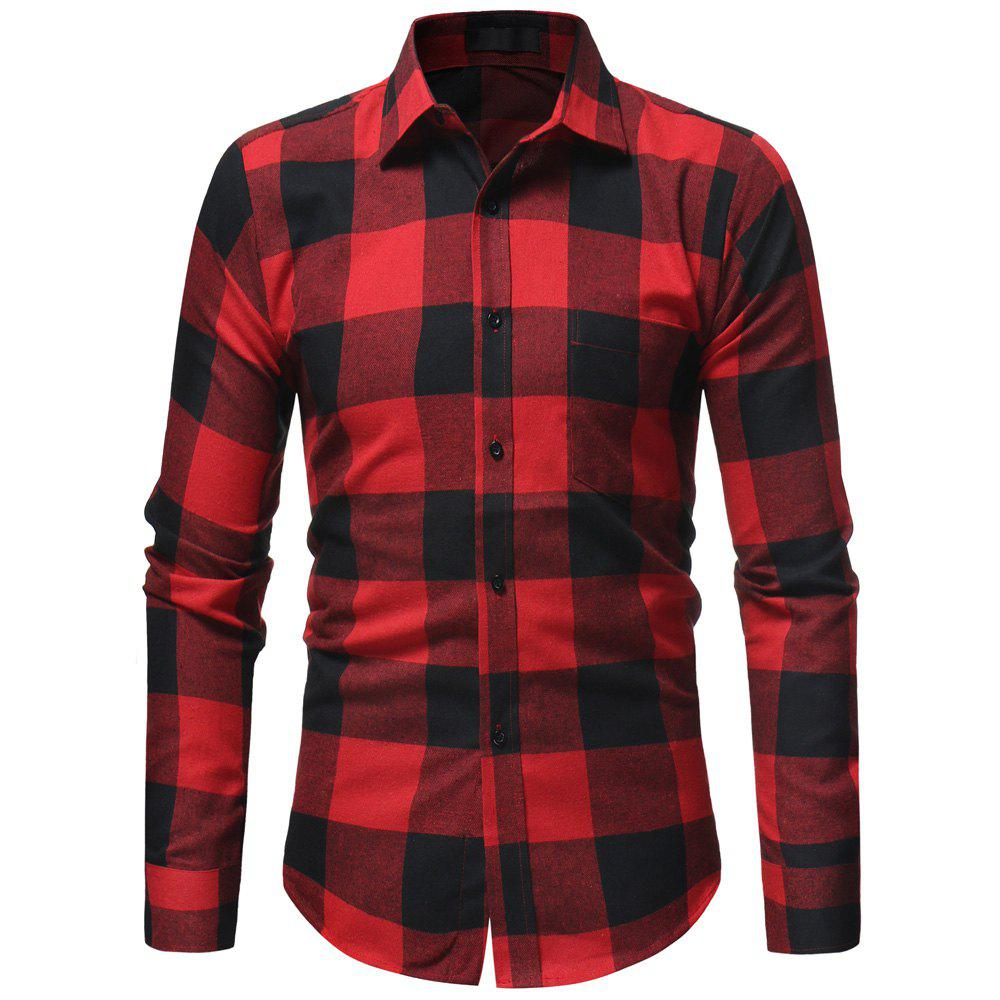 Hot Classic Flannel Plaid Men's Casual Slim Long Sleeve Shirt