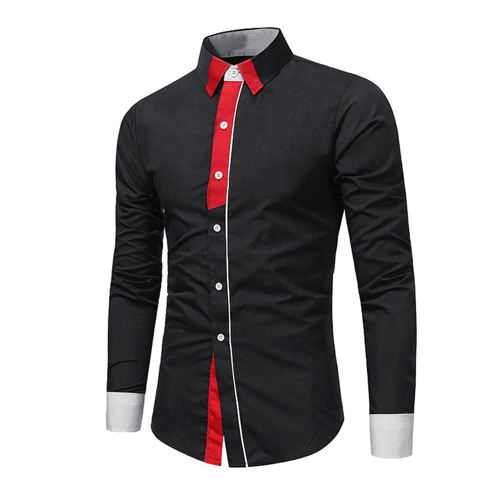 Outfits Men's Fashion Personality Contrast Color Long-Sleeved Casual Shirt