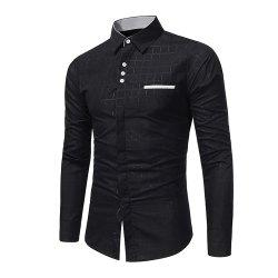 Men's Simple Plaid Print Slim Tide Business Casual Long Sleeve Shirt -
