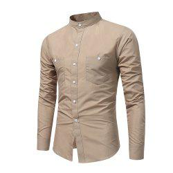 Men's British High Quality Stand Collar Long Sleeve Shirt Youth Fashion Solid Co -