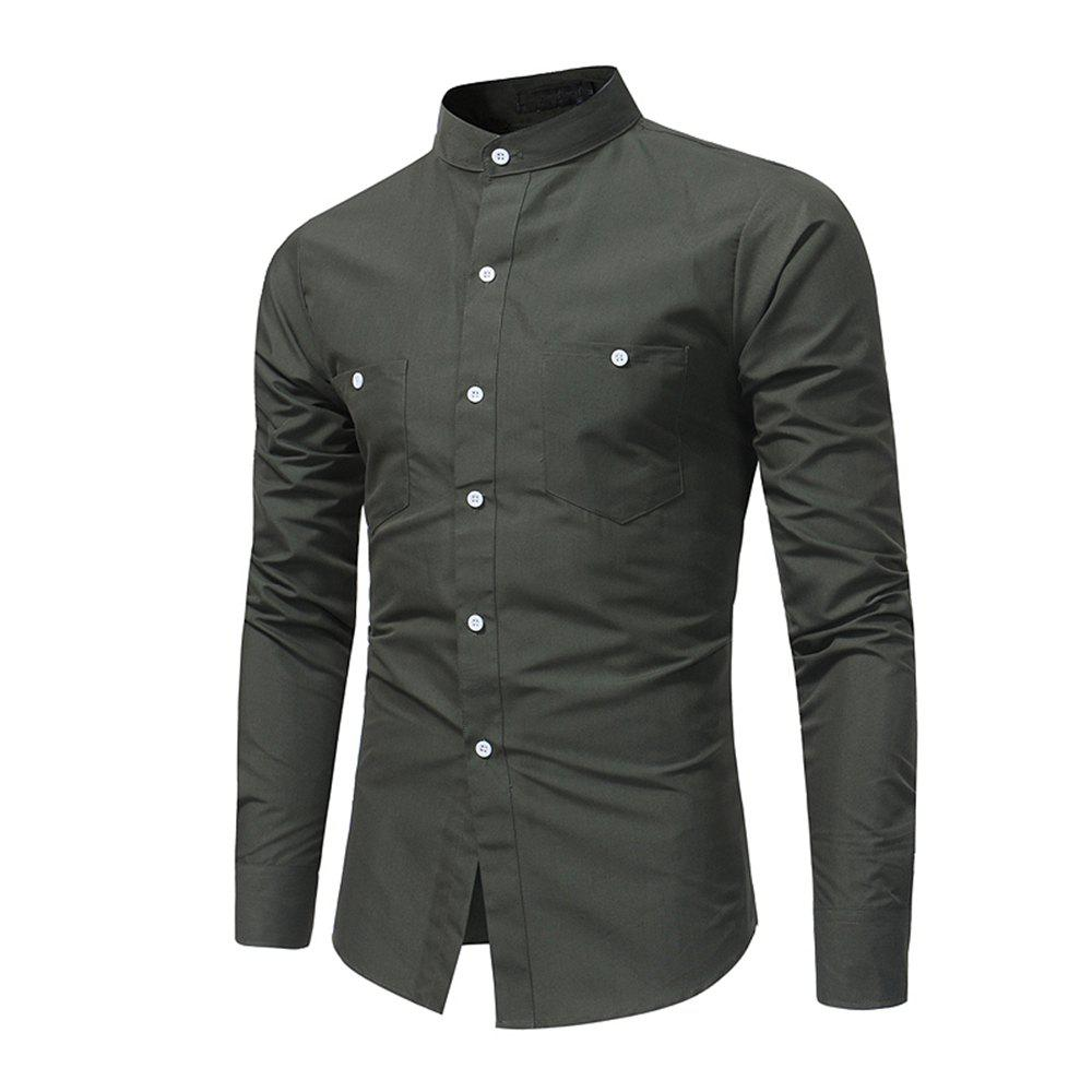 Fashion Men's British High Quality Stand Collar Long Sleeve Shirt Youth Fashion Solid Co