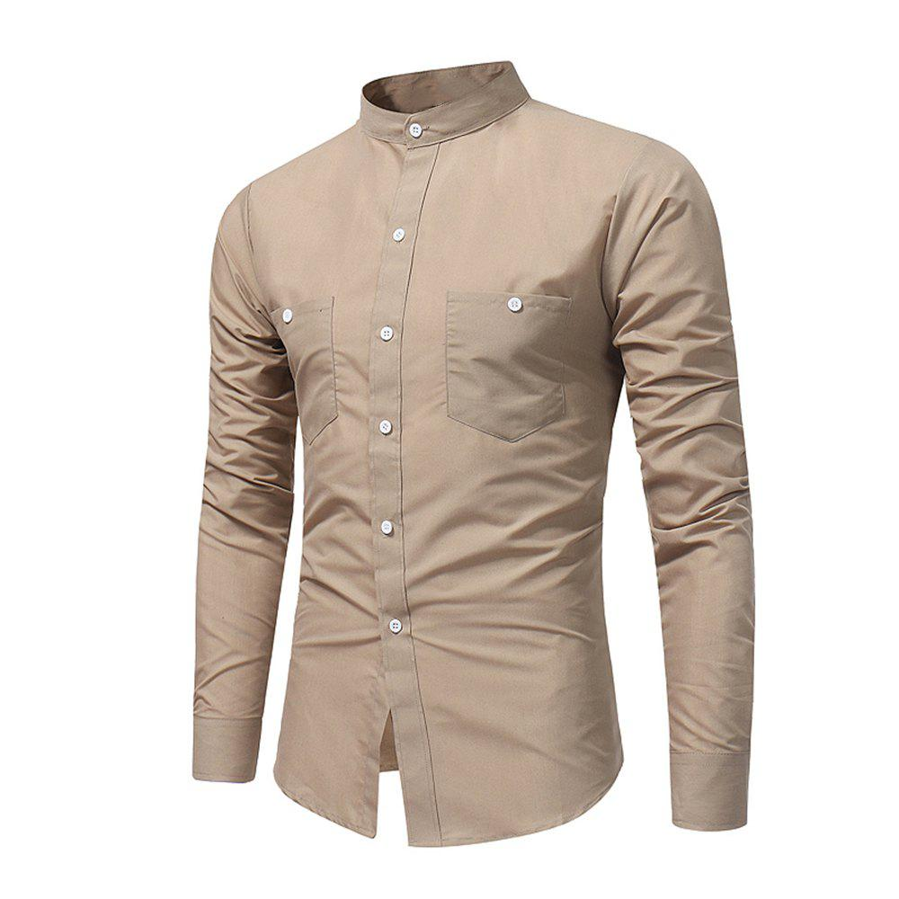 Discount Men's British High Quality Stand Collar Long Sleeve Shirt Youth Fashion Solid Co
