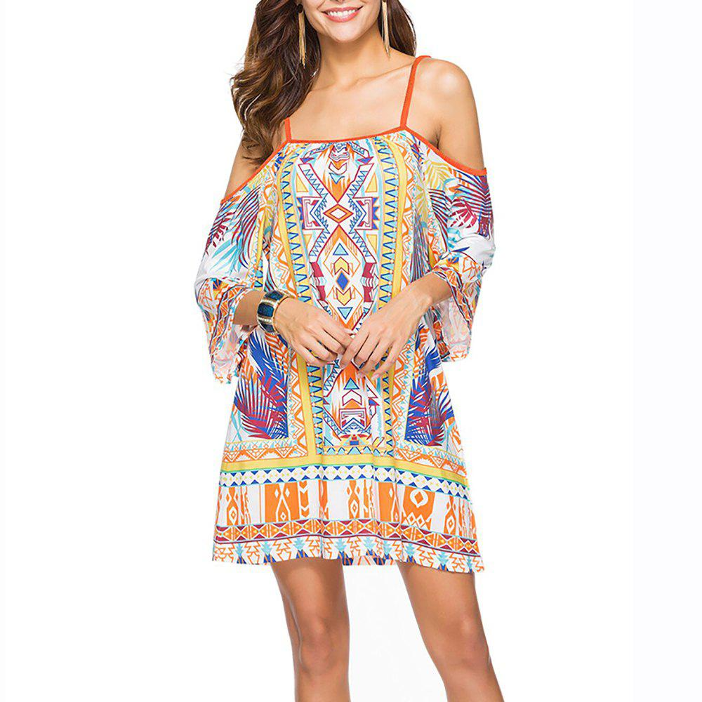 Женская мода Print Strap Half Sleeve Casual Mini Boho Dress