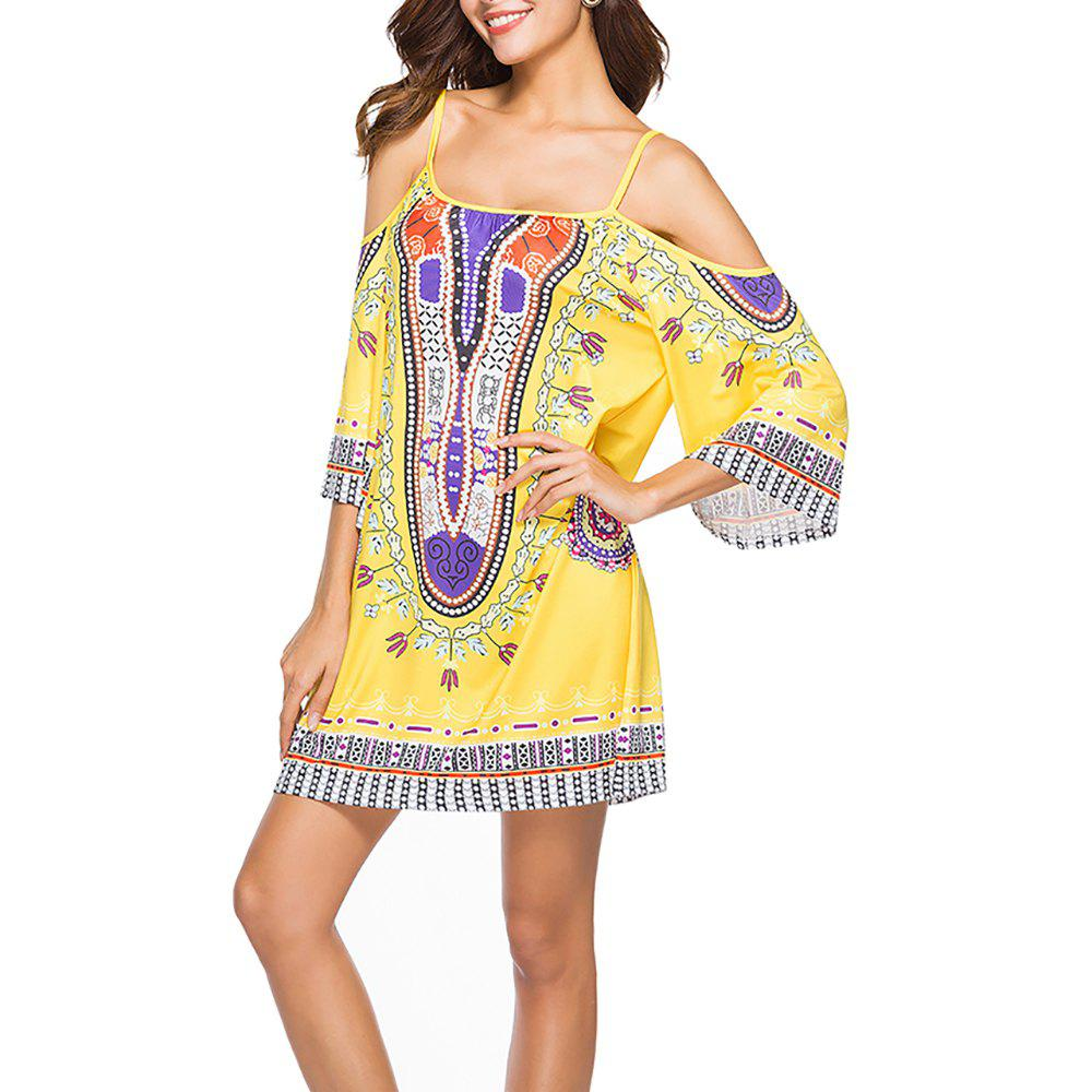 Affordable Women's Fashion Print Strap Half Sleeve Casual Mini Boho Dress