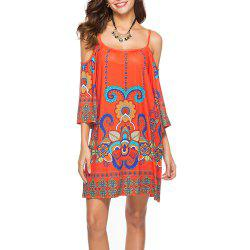Women's Fashion Print Half Sleeve Spaghetti Strap Beach Casual Mini Dress -