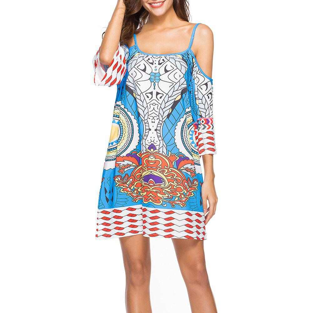 Женская мода Print Half Sleeve Spaghetti Strap Beach Casual Mini Dress