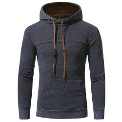 Chest Stitching Men's Casual Hooded Pullover Sweater Coat -
