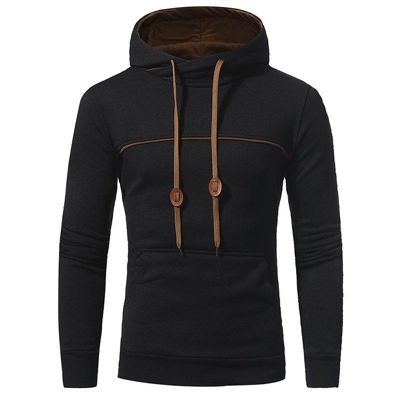 Chic Chest Stitching Men's Casual Hooded Pullover Sweater Coat