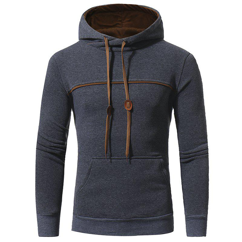 Trendy Chest Stitching Men's Casual Hooded Pullover Sweater Coat