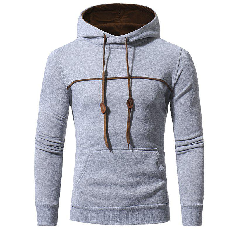 Shops Chest Stitching Men's Casual Hooded Pullover Sweater Coat