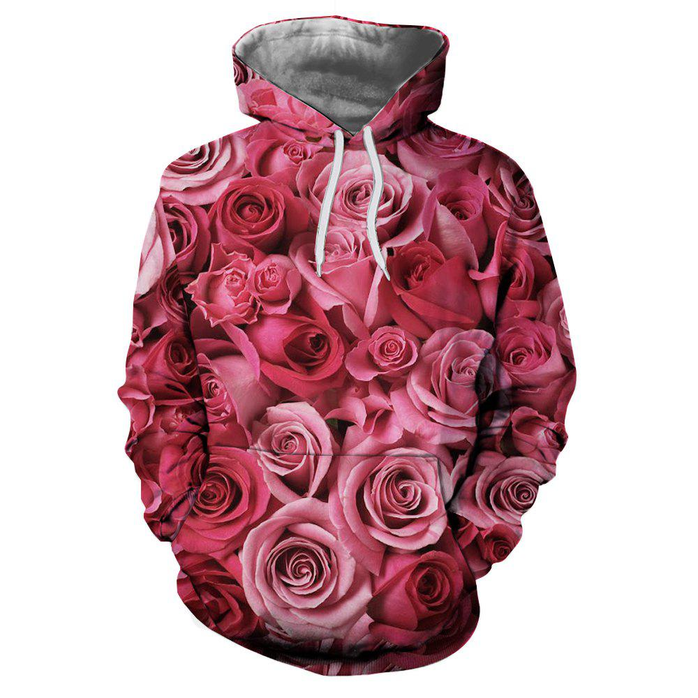 Shops Rose 3D Digital Printing Men's Hoodie Sweater