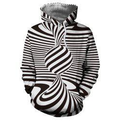 Men's New Fashion Stripe 3D Swirl Print Patch Pocket Hoodie Sweater -