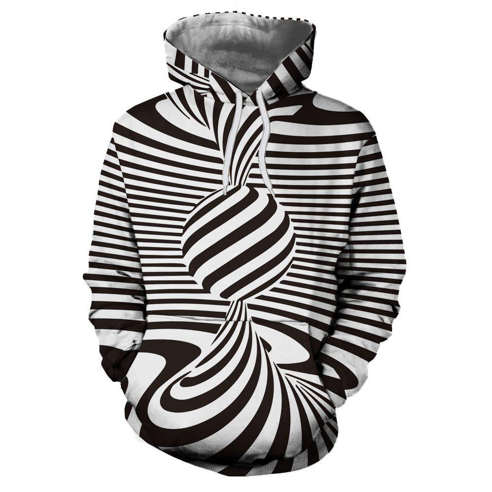 Affordable Men's New Fashion Stripe 3D Swirl Print Patch Pocket Hoodie Sweater