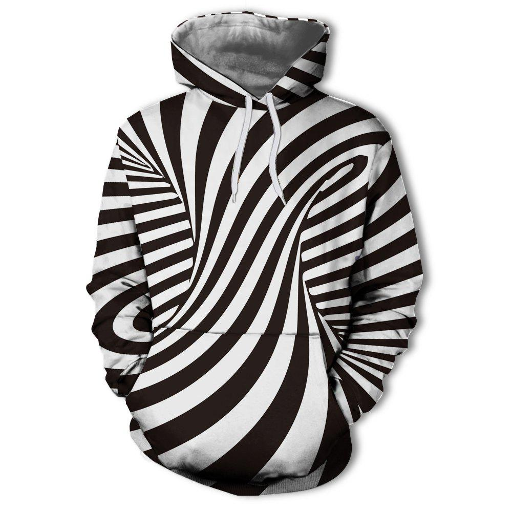 Chic Men's New Fashion Stripe 3D Swirl Print Patch Pocket Hoodie Sweater