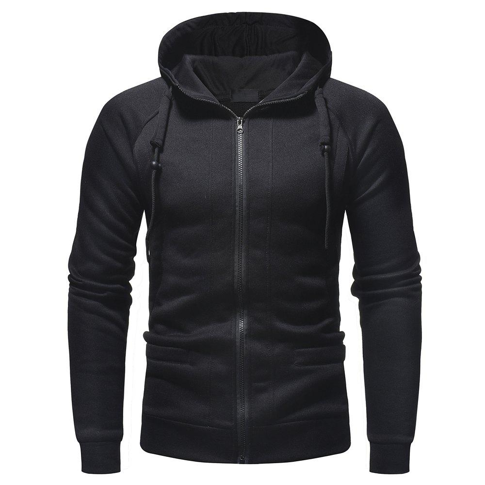 Store Men's Fashion Casual Slim Hooded Solid Color Sweater