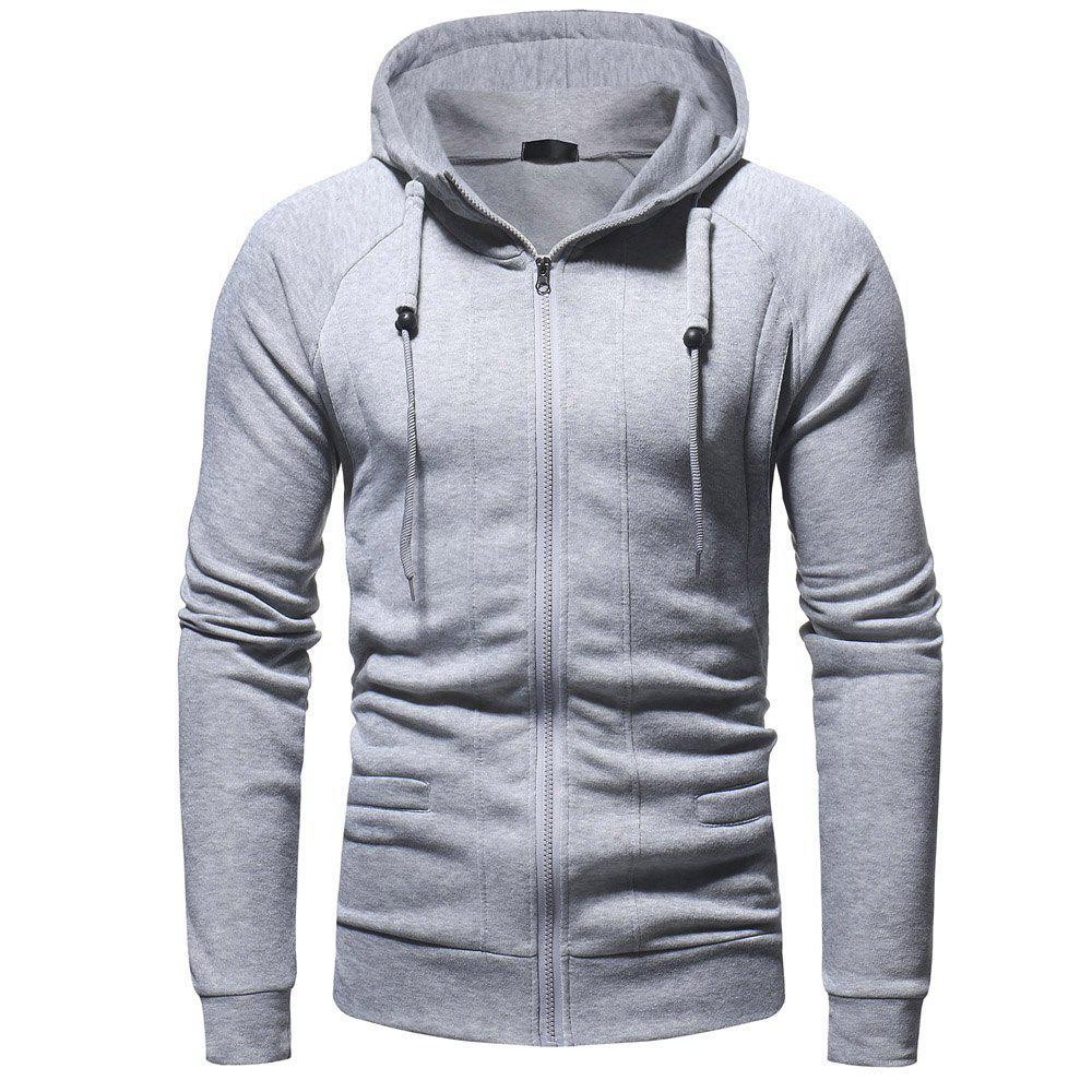 Chic Men's Fashion Casual Slim Hooded Solid Color Sweater