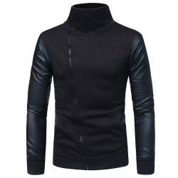 Men's Slim Diagonal Zip High Turt Leather Sleeve Sweater -