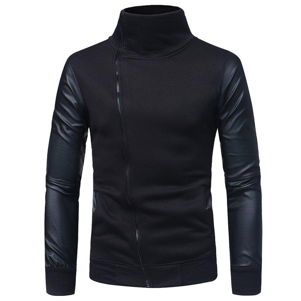 Best Men's Slim Diagonal Zip High Turt Leather Sleeve Sweater