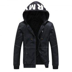 Men Autumn Stylish Youth Leather Hoodie Jacket -